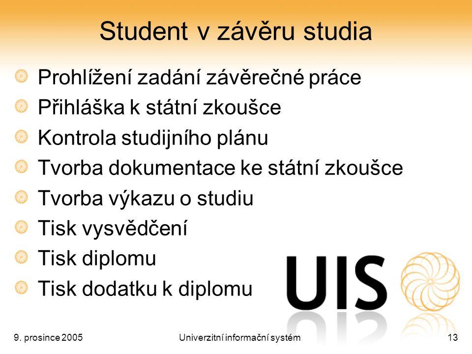 9. prosince 2005Univerzitní informační systém13 Student v závěru studia Prohlížení zadání závěrečné práce Přihláška k státní zkoušce Kontrola studijní