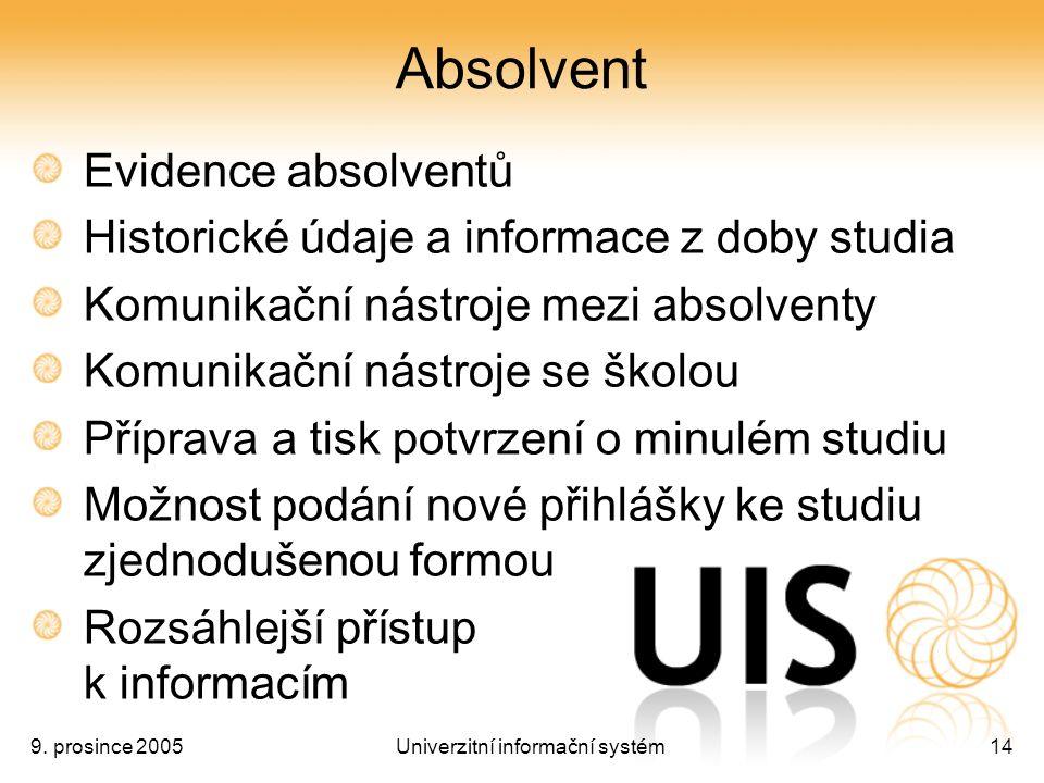 9. prosince 2005Univerzitní informační systém14 Absolvent Evidence absolventů Historické údaje a informace z doby studia Komunikační nástroje mezi abs