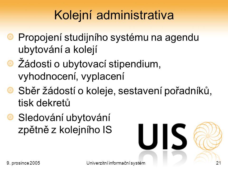 9. prosince 2005Univerzitní informační systém21 Kolejní administrativa Propojení studijního systému na agendu ubytování a kolejí Žádosti o ubytovací s