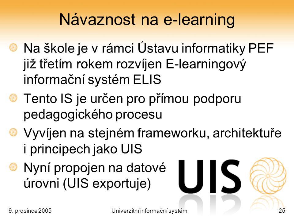 9. prosince 2005Univerzitní informační systém25 Návaznost na e-learning Na škole je v rámci Ústavu informatiky PEF již třetím rokem rozvíjen E-learnin