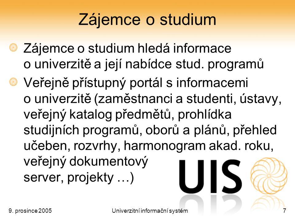 9. prosince 2005Univerzitní informační systém7 Zájemce o studium Zájemce o studium hledá informace o univerzitě a její nabídce stud. programů Veřejně
