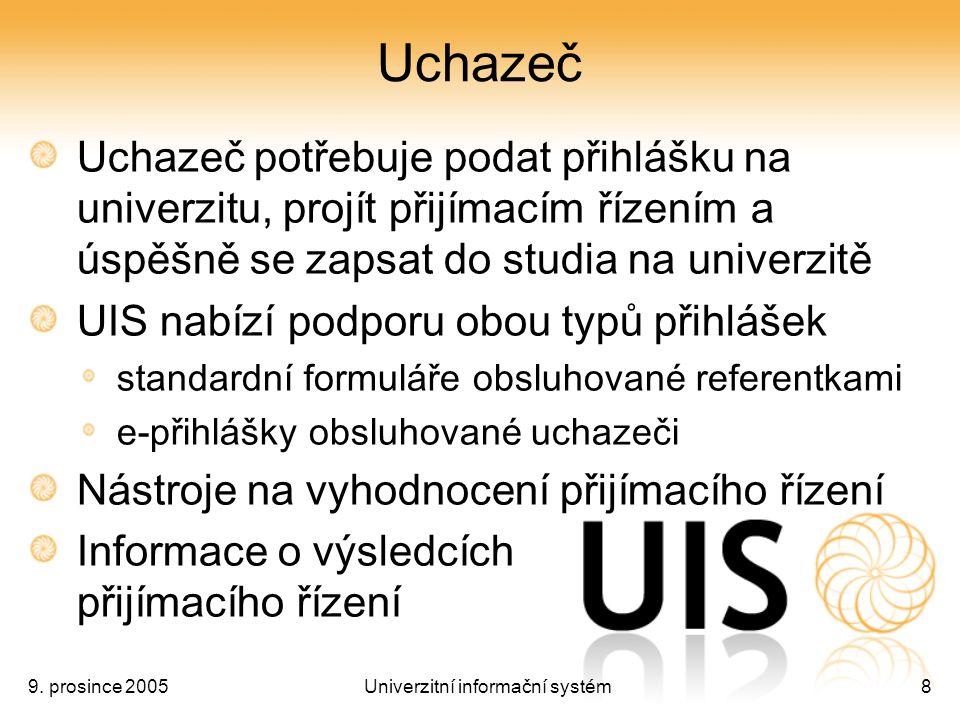 9. prosince 2005Univerzitní informační systém8 Uchazeč Uchazeč potřebuje podat přihlášku na univerzitu, projít přijímacím řízením a úspěšně se zapsat