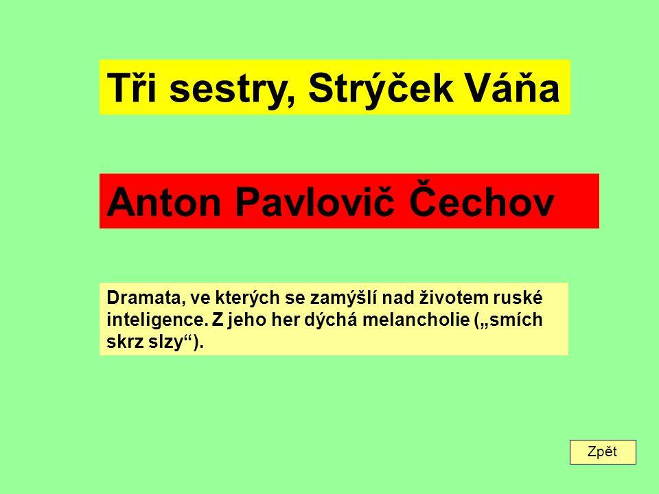Zpět Tři sestry, Strýček Váňa Anton Pavlovič Čechov Dramata, ve kterých se zamýšlí nad životem ruské inteligence.