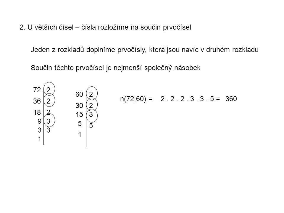 2. U větších čísel – čísla rozložíme na součin prvočísel Součin těchto prvočísel je nejmenší společný násobek Jeden z rozkladů doplníme prvočísly, kte