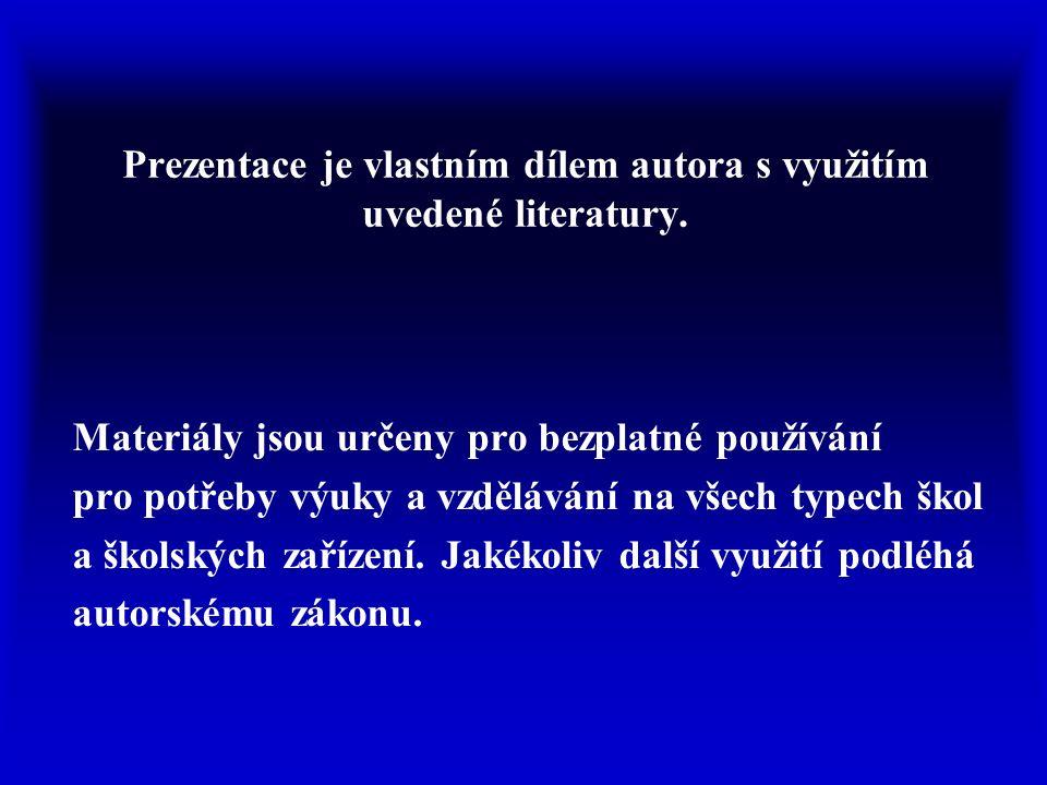 Prezentace je vlastním dílem autora s využitím uvedené literatury.
