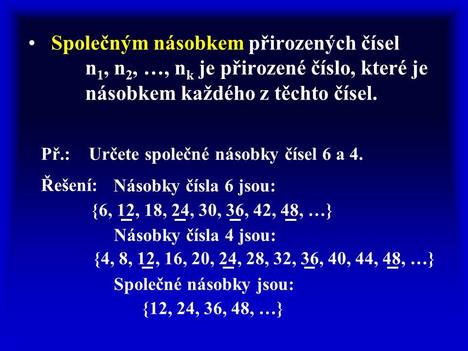 Společným násobkem přirozených čísel n 1, n 2, …, n k je přirozené číslo, které je násobkem každého z těchto čísel.