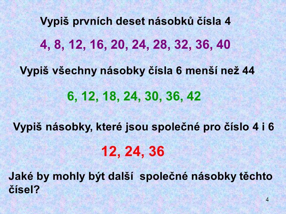 4 Vypiš prvních deset násobků čísla 4 Vypiš všechny násobky čísla 6 menší než 44 4, 8, 12, 16, 20, 24, 28, 32, 36, 40 6, 12, 18, 24, 30, 36, 42 Vypiš násobky, které jsou společné pro číslo 4 i 6 12, 24, 36 Jaké by mohly být další společné násobky těchto čísel