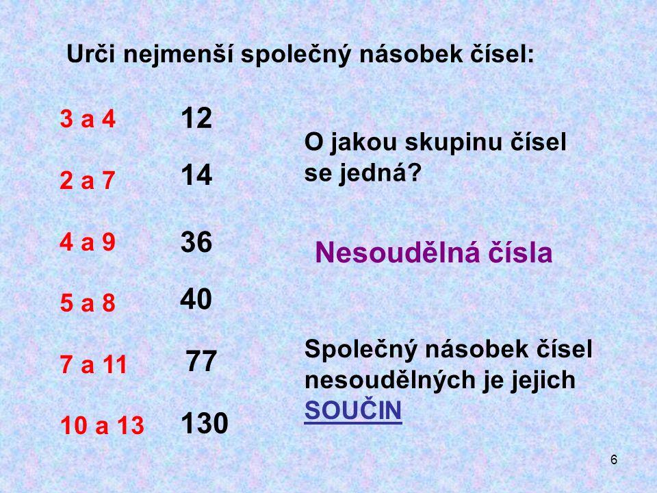 6 Urči nejmenší společný násobek čísel: 3 a 4 2 a 7 4 a 9 5 a 8 7 a 11 10 a 13 12 14 36 40 77 130 Společný násobek čísel nesoudělných je jejich SOUČIN O jakou skupinu čísel se jedná.