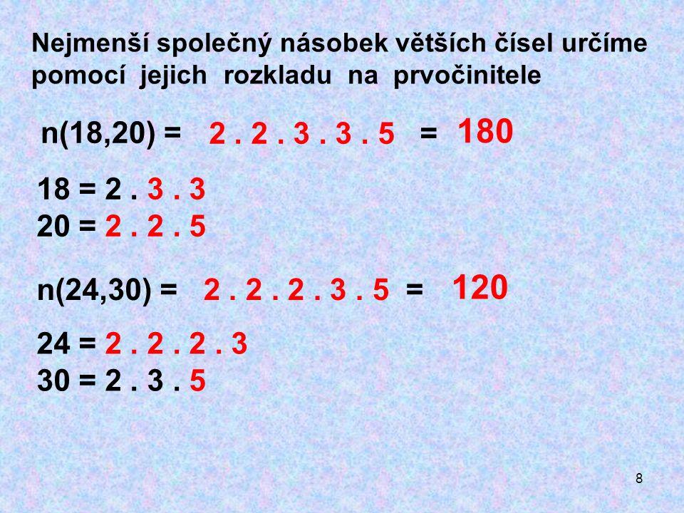 8 Nejmenší společný násobek větších čísel určíme pomocí jejich rozkladu na prvočinitele n(18,20) = 18 = 2.