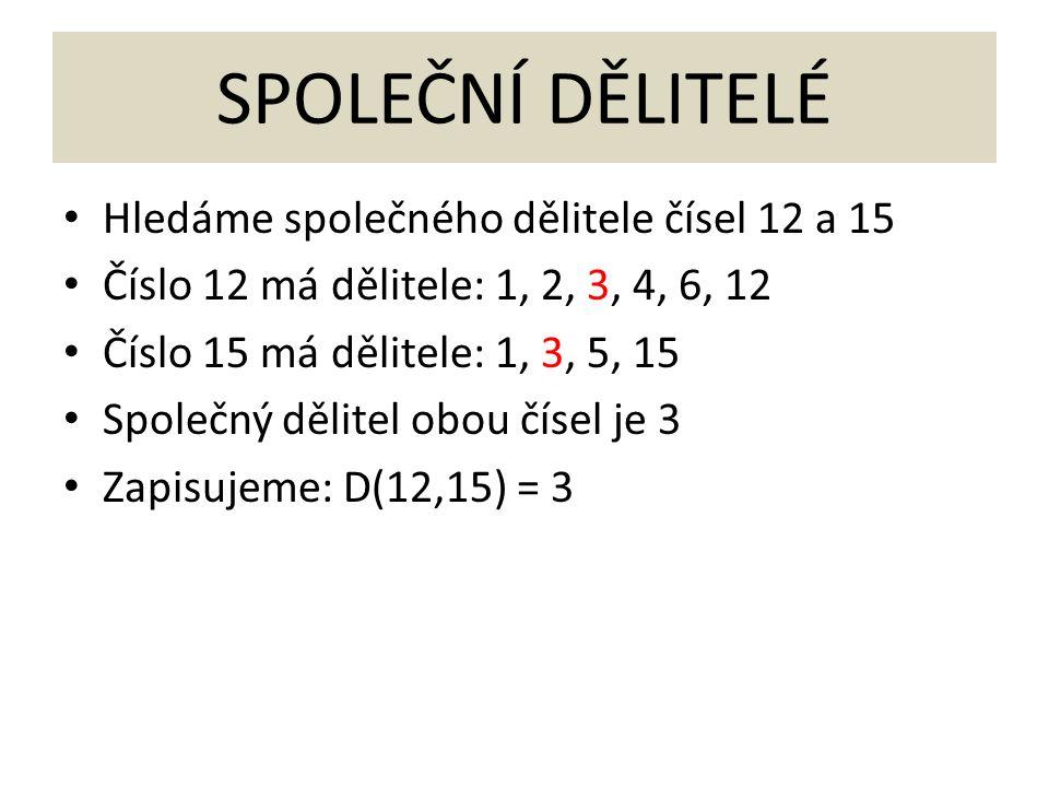 SPOLEČNÍ DĚLITELÉ Hledáme společného dělitele čísel 12 a 15 Číslo 12 má dělitele: 1, 2, 3, 4, 6, 12 Číslo 15 má dělitele: 1, 3, 5, 15 Společný dělitel obou čísel je 3 Zapisujeme: D(12,15) = 3
