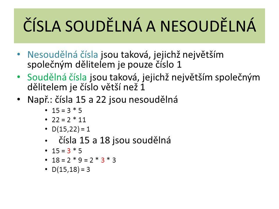 ČÍSLA SOUDĚLNÁ A NESOUDĚLNÁ Nesoudělná čísla jsou taková, jejichž největším společným dělitelem je pouze číslo 1 Soudělná čísla jsou taková, jejichž největším společným dělitelem je číslo větší než 1 Např.: čísla 15 a 22 jsou nesoudělná 15 = 3 * 5 22 = 2 * 11 D(15,22) = 1 čísla 15 a 18 jsou soudělná 15 = 3 * 5 18 = 2 * 9 = 2 * 3 * 3 D(15,18) = 3