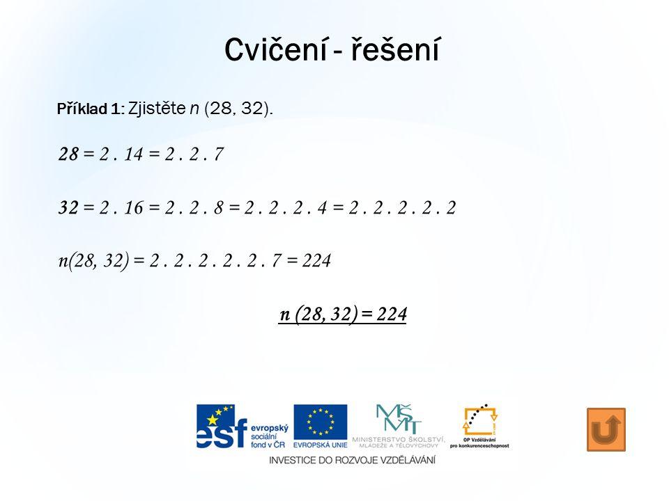 Cvičení - řešení Příklad 1: Zjistěte n (28, 32). 28 = 2.