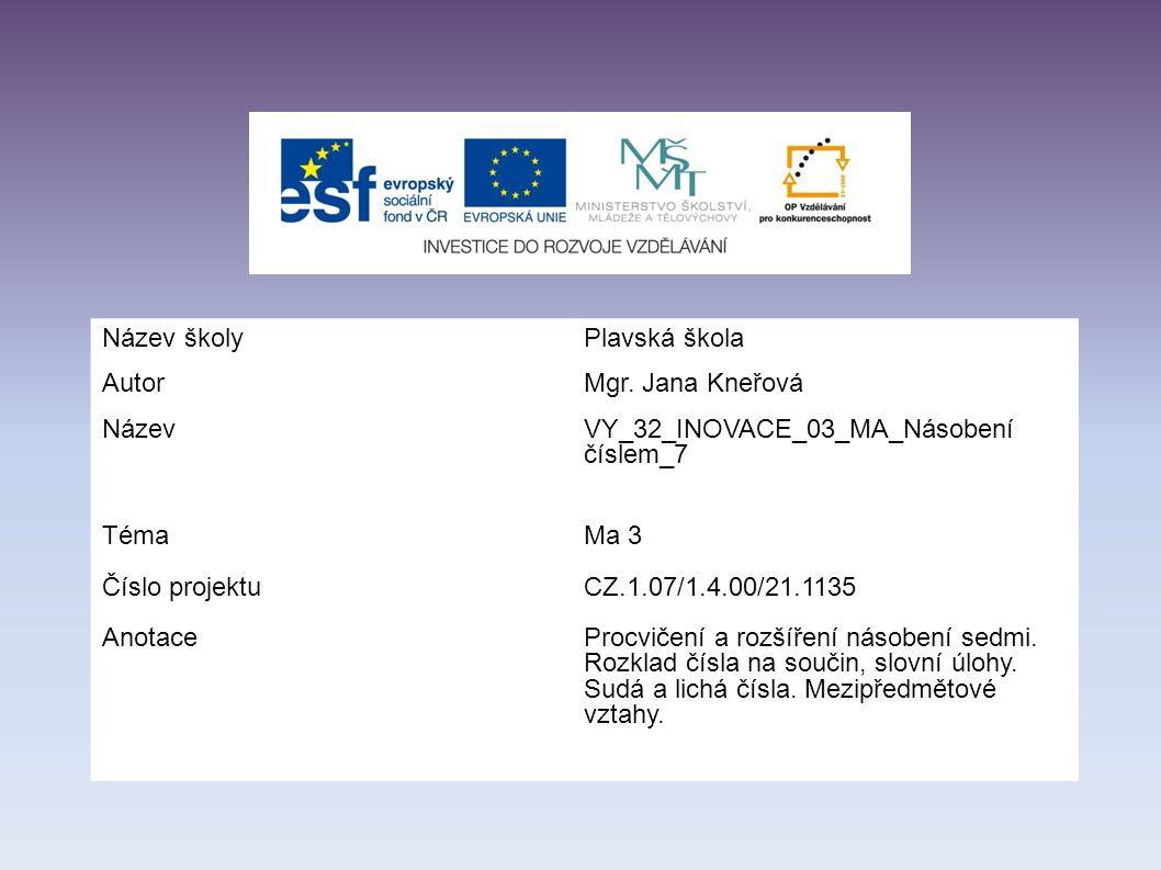 Název školyPlavská škola AutorMgr. Jana Kneřová NázevVY_32_INOVACE_03_MA_Násobení číslem_7 Téma Číslo projektu Anotace Ma 3 CZ.1.07/1.4.00/21.1135 Pro