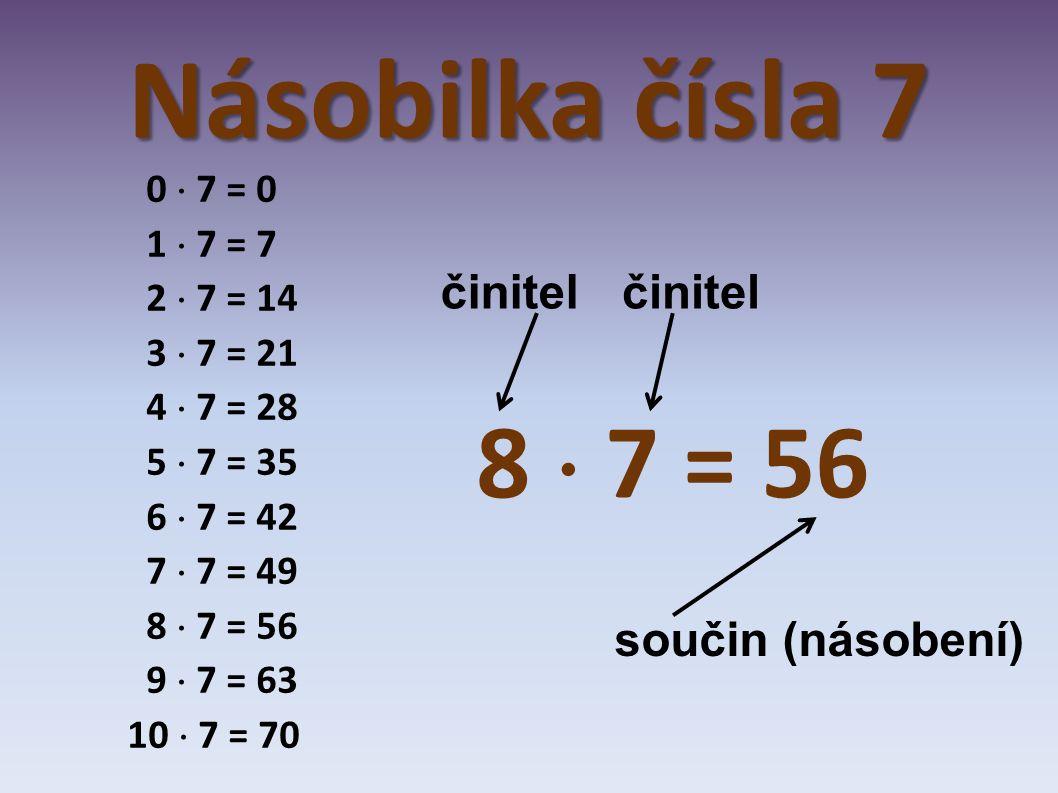Násobilka čísla 7 0  7 = 0 1  7 = 7 2  7 = 14 3  7 = 21 4  7 = 28 5  7 = 35 6  7 = 42 7  7 = 49 8  7 = 56 9  7 = 63 10  7 = 70 8  7 = 56 č