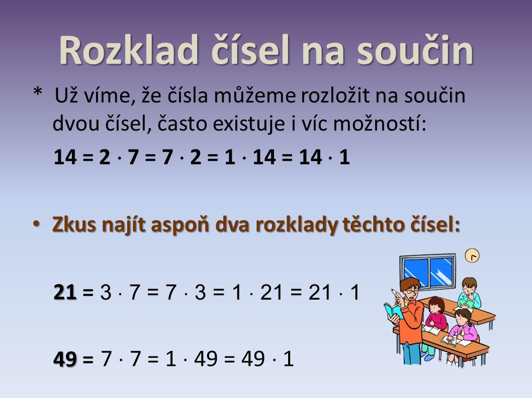 Rozklad čísel na součin * Už víme, že čísla můžeme rozložit na součin dvou čísel, často existuje i víc možností: 14 = 2  7 = 7  2 = 1  14 = 14  1