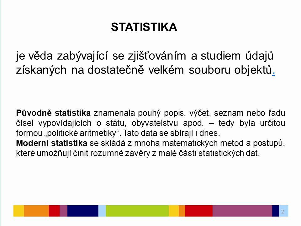 2 je věda zabývající se zjišťováním a studiem údajů získaných na dostatečně velkém souboru objektů.. STATISTIKA Původně statistika znamenala pouhý pop