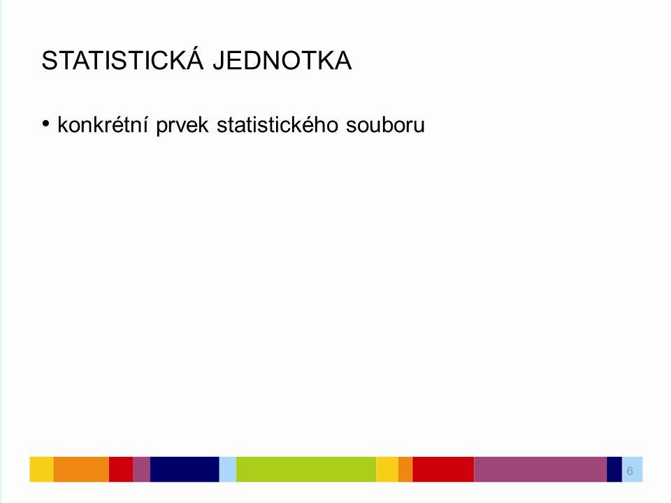 6 STATISTICKÁ JEDNOTKA konkrétní prvek statistického souboru