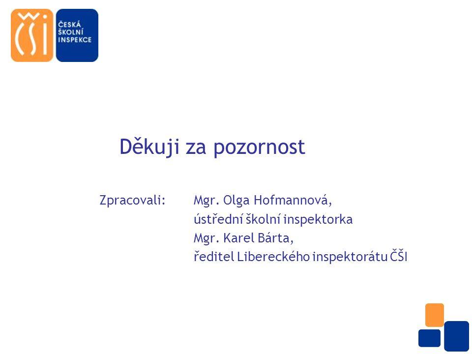 Děkuji za pozornost Zpracovali: Mgr. Olga Hofmannová, ústřední školní inspektorka Mgr.