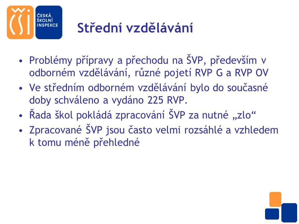 Střední vzdělávání Nedostatky v ŠVP: Zařazení a realizace průřezových témat Učební osnovy nejsou v souladu s RVP Zabezpečení žáků se SVP (nerespektování šk.