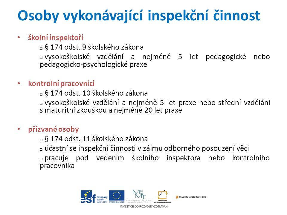 Osoby vykonávající inspekční činnost školní inspektoři  § 174 odst.