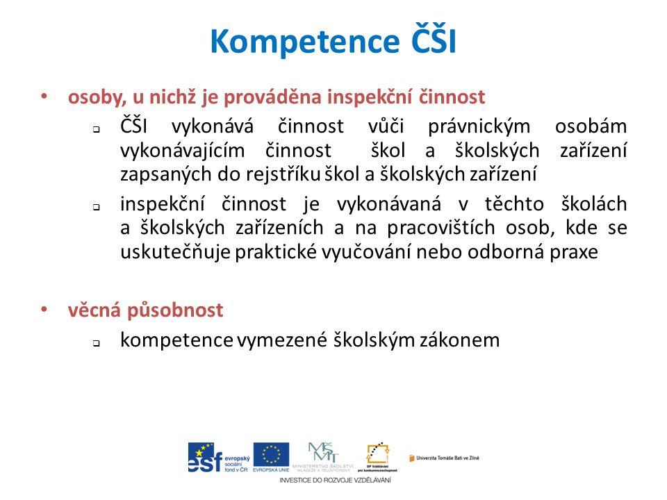 Kompetence ČŠI osoby, u nichž je prováděna inspekční činnost  ČŠI vykonává činnost vůči právnickým osobám vykonávajícím činnost škol a školských zaří