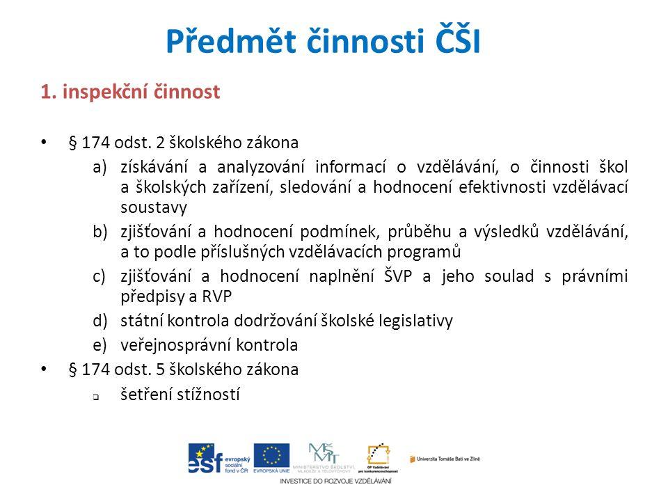 Předmět činnosti ČŠI 1. inspekční činnost § 174 odst.