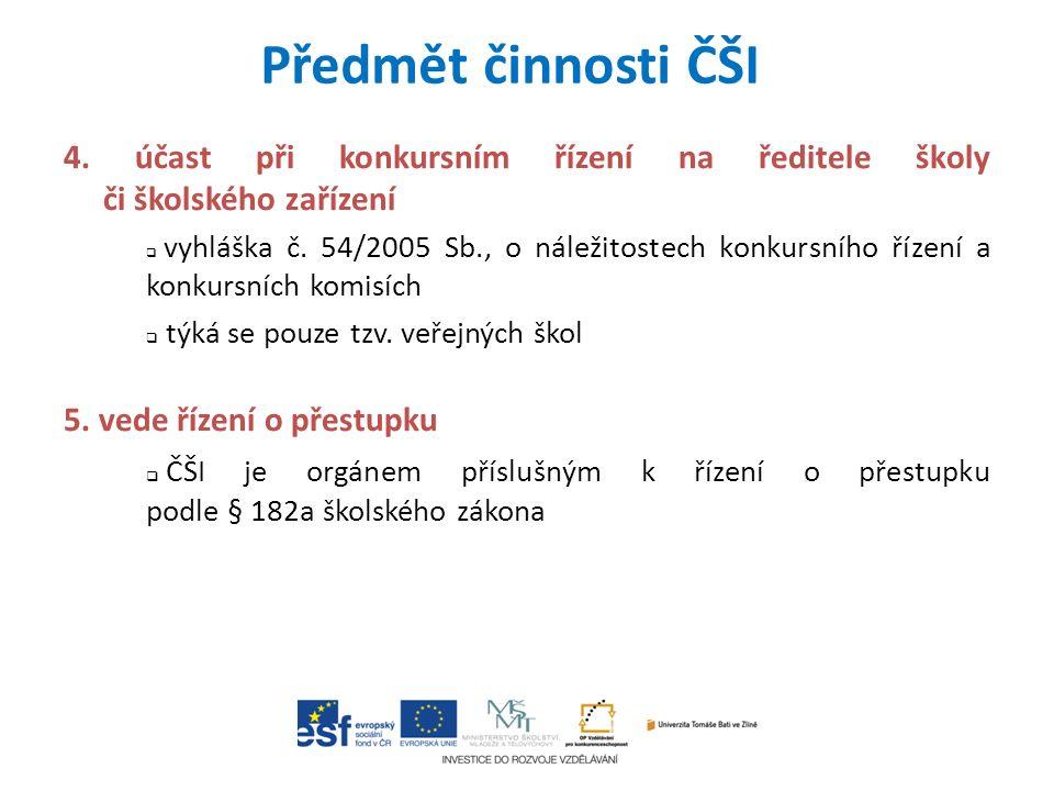 4. účast při konkursním řízení na ředitele školy či školského zařízení  vyhláška č.