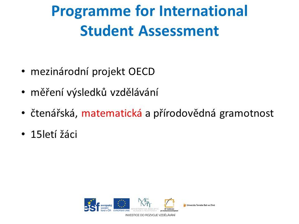 Programme for International Student Assessment mezinárodní projekt OECD měření výsledků vzdělávání čtenářská, matematická a přírodovědná gramotnost 15