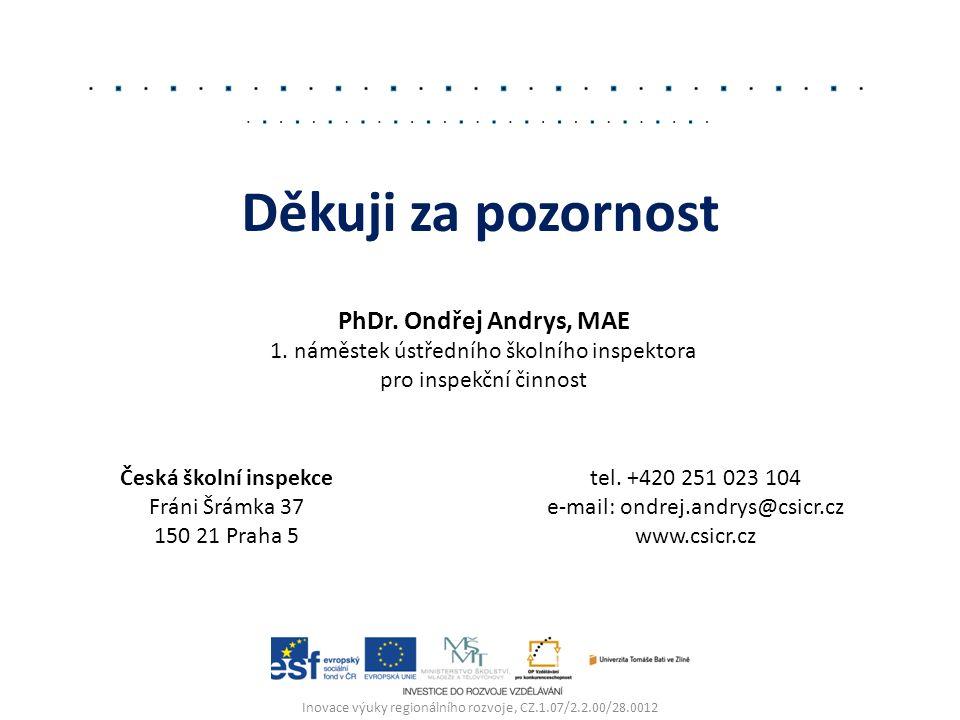 Inovace výuky regionálního rozvoje, CZ.1.07/2.2.00/28.0012 Děkuji za pozornost PhDr. Ondřej Andrys, MAE 1. náměstek ústředního školního inspektora pro