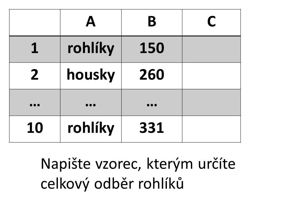 ABC 1rohlíky150 2housky260 ……… 10rohlíky331 Napište vzorec, kterým určíte celkový odběr rohlíků