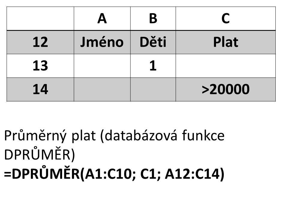 ABC 12JménoDětiPlat 131 14>20000 Průměrný plat (databázová funkce DPRŮMĚR) =DPRŮMĚR(A1:C10; C1; A12:C14)