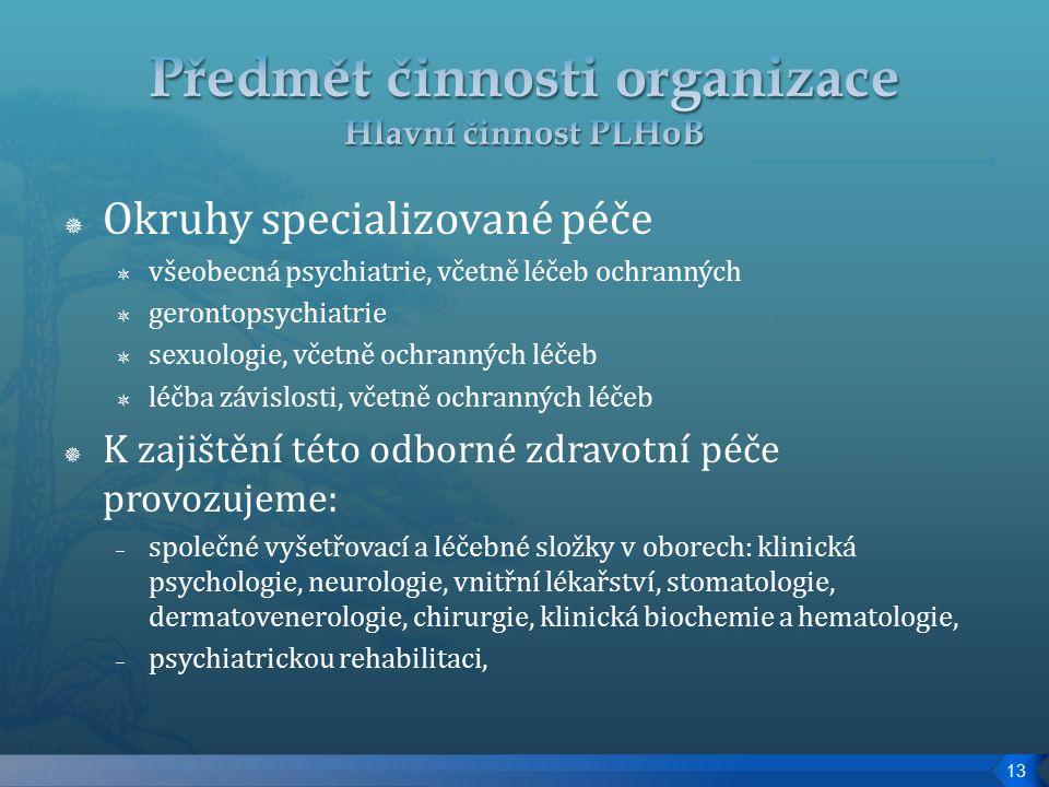  Okruhy specializované péče  všeobecná psychiatrie, včetně léčeb ochranných  gerontopsychiatrie  sexuologie, včetně ochranných léčeb  léčba závislosti, včetně ochranných léčeb  K zajištění této odborné zdravotní péče provozujeme: – společné vyšetřovací a léčebné složky v oborech: klinická psychologie, neurologie, vnitřní lékařství, stomatologie, dermatovenerologie, chirurgie, klinická biochemie a hematologie, – psychiatrickou rehabilitaci, 13
