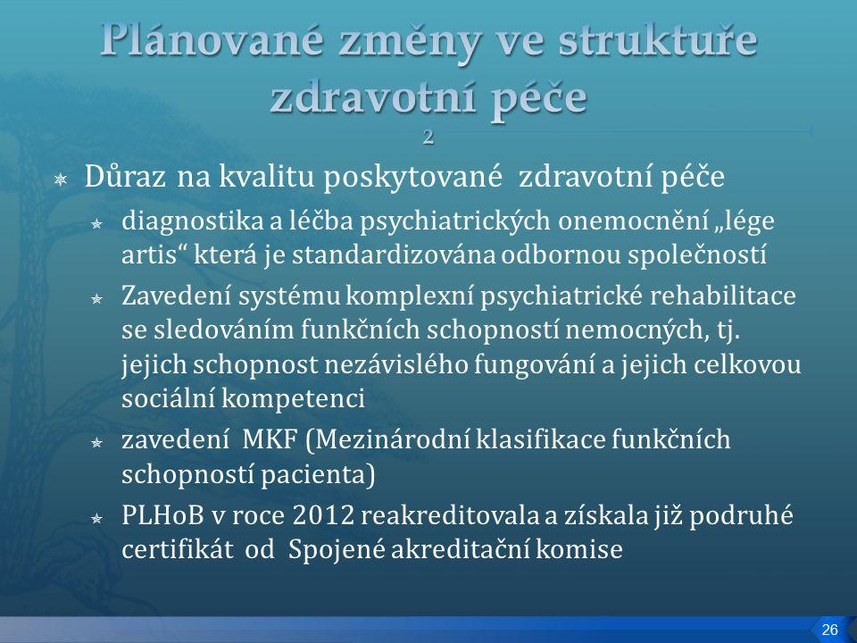 """ Důraz na kvalitu poskytované zdravotní péče  diagnostika a léčba psychiatrických onemocnění """"lége artis která je standardizována odbornou společností  Zavedení systému komplexní psychiatrické rehabilitace se sledováním funkčních schopností nemocných, tj."""