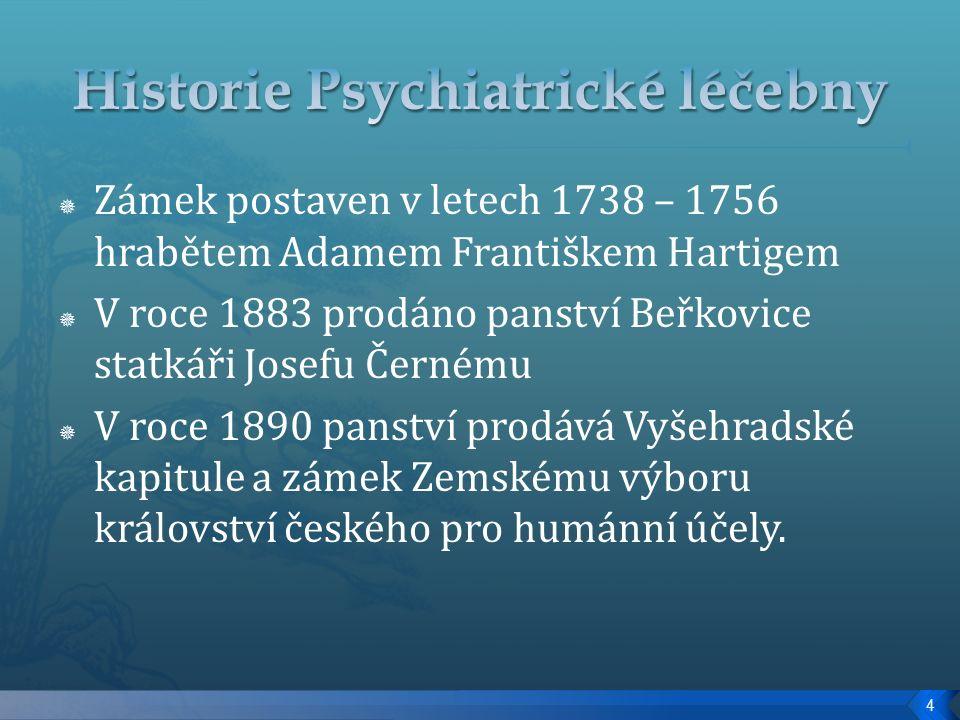  Zámek postaven v letech 1738 – 1756 hrabětem Adamem Františkem Hartigem  V roce 1883 prodáno panství Beřkovice statkáři Josefu Černému  V roce 1890 panství prodává Vyšehradské kapitule a zámek Zemskému výboru království českého pro humánní účely.