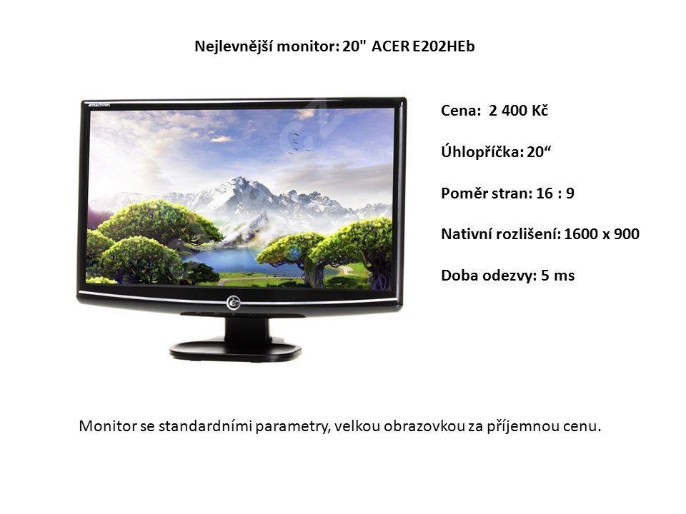 Cena: 2 400 Kč Úhlopříčka: 20 Poměr stran: 16 : 9 Nativní rozlišení: 1600 x 900 Doba odezvy: 5 ms Nejlevnější monitor: 20 ACER E202HEb Monitor se standardními parametry, velkou obrazovkou za příjemnou cenu.