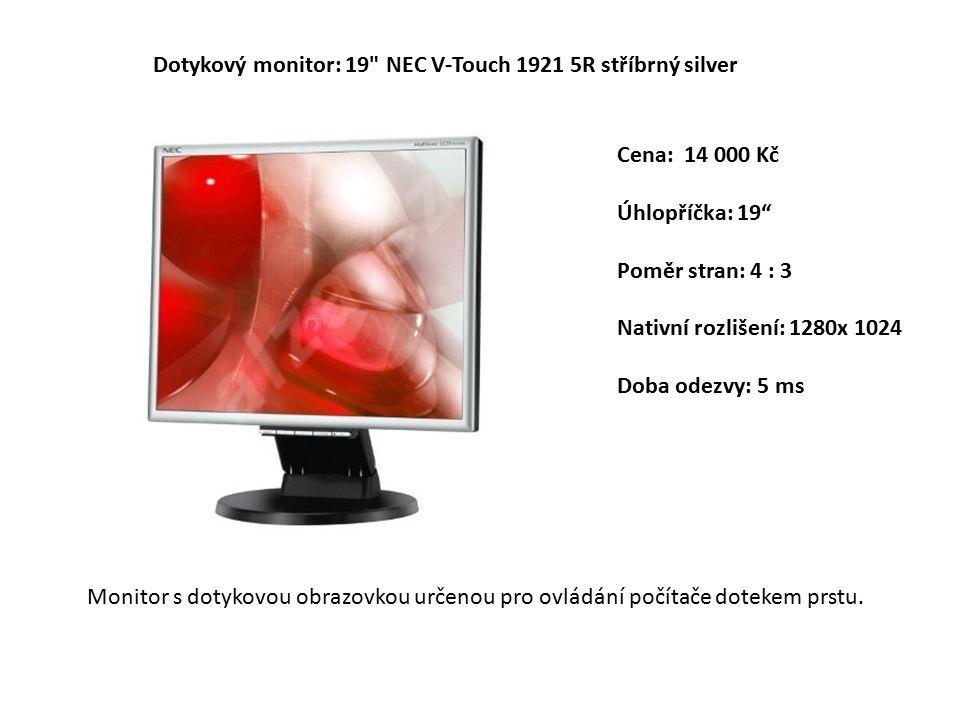 Cena: 14 000 Kč Úhlopříčka: 19 Poměr stran: 4 : 3 Nativní rozlišení: 1280x 1024 Doba odezvy: 5 ms Dotykový monitor: 19 NEC V-Touch 1921 5R stříbrný silver Monitor s dotykovou obrazovkou určenou pro ovládání počítače dotekem prstu.