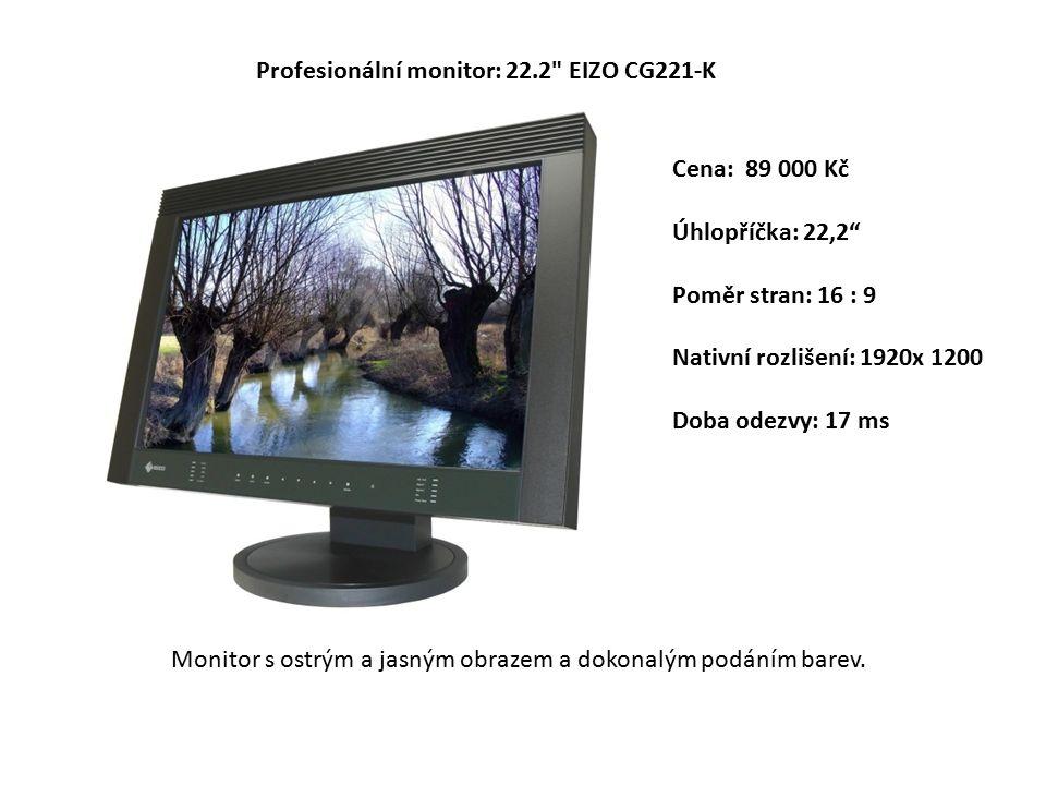 Cena: 89 000 Kč Úhlopříčka: 22,2 Poměr stran: 16 : 9 Nativní rozlišení: 1920x 1200 Doba odezvy: 17 ms Profesionální monitor: 22.2 EIZO CG221-K Monitor s ostrým a jasným obrazem a dokonalým podáním barev.