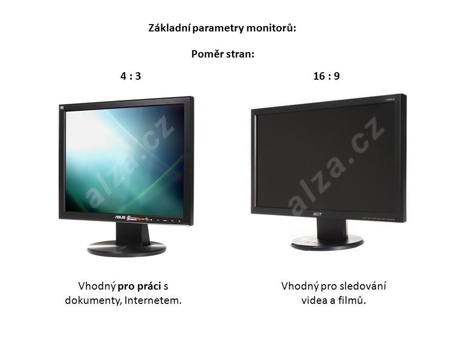 Poměr stran: Základní parametry monitorů: 4 : 316 : 9 Vhodný pro práci s dokumenty, Internetem.