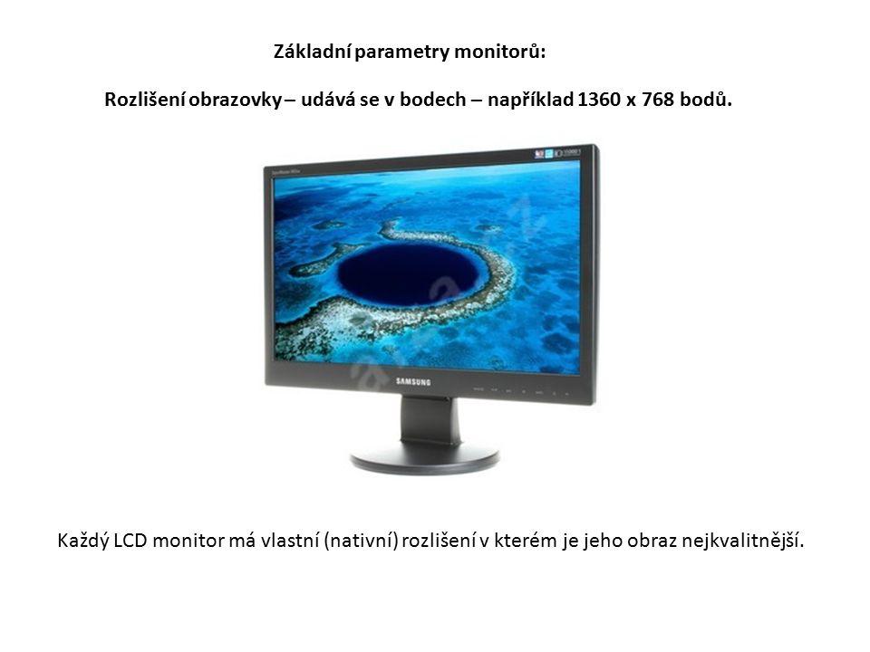 Rozlišení obrazovky – udává se v bodech – například 1360 x 768 bodů.