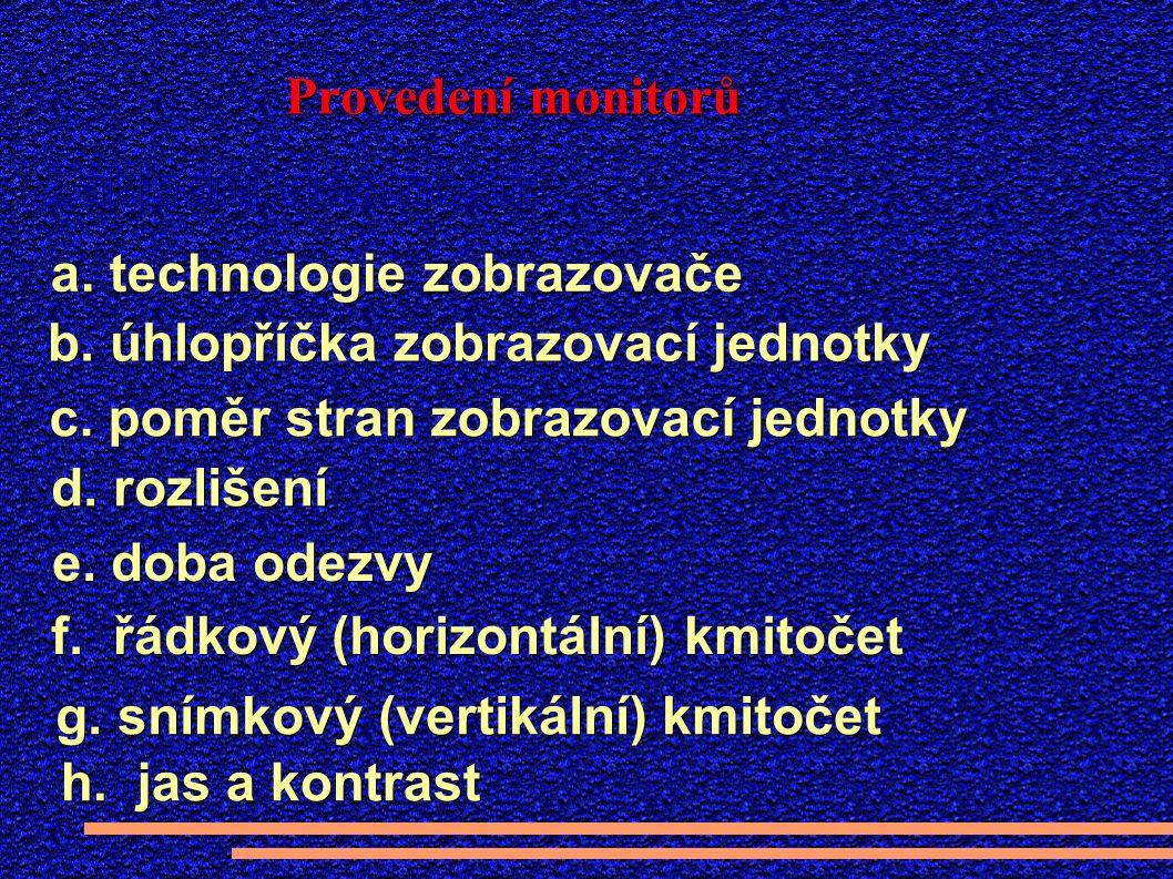 Provedení monitorů a. technologie zobrazovače b. úhlopříčka zobrazovací jednotky c.