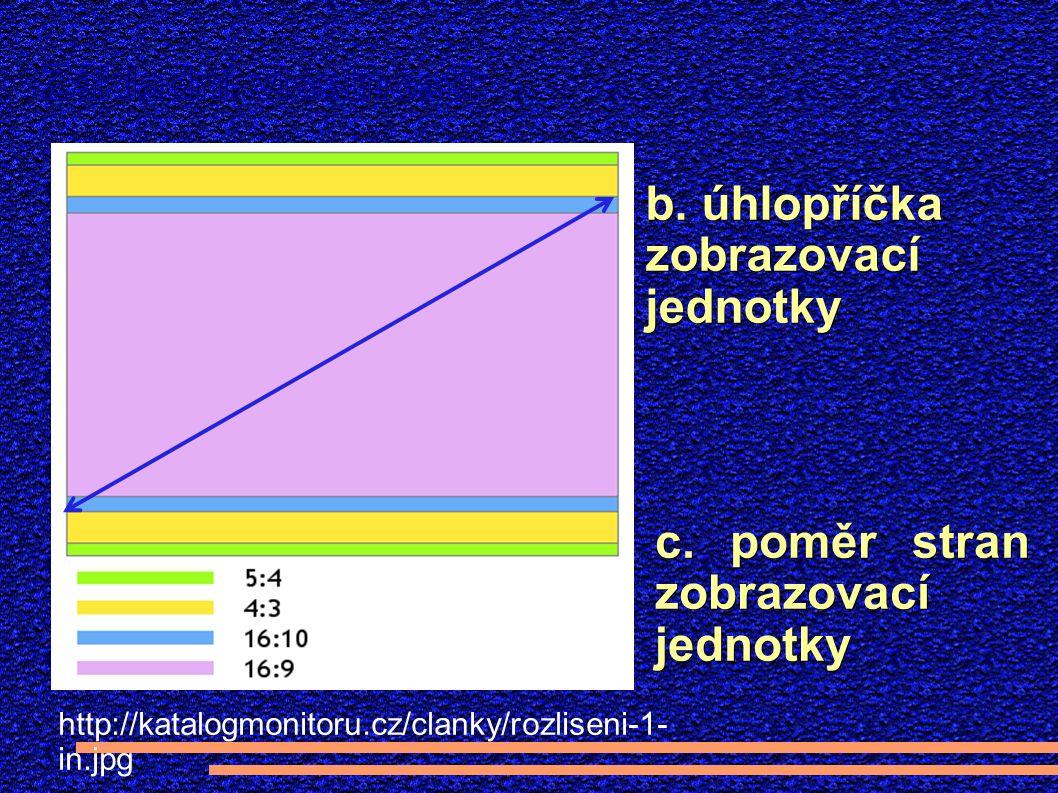 b. úhlopříčka zobrazovací jednotky c.