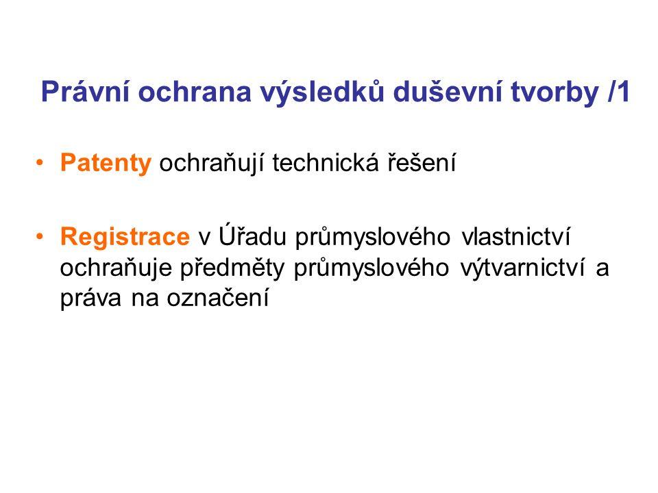 Právní ochrana výsledků duševní tvorby /1 Patenty ochraňují technická řešení Registrace v Úřadu průmyslového vlastnictví ochraňuje předměty průmyslového výtvarnictví a práva na označení