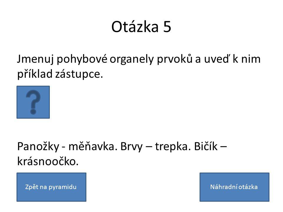 Otázka 5 Jmenuj pohybové organely prvoků a uveď k nim příklad zástupce.