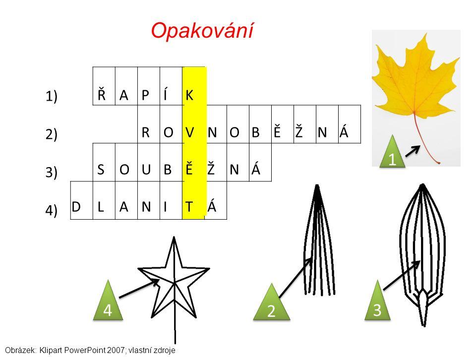 1) 2) 3) 4) Opakování ŘAPÍK ROVNOBĚŽNÁ SOUBĚŽNÁ DLANITÁ 1 1 2 2 3 3 4 4 Obrázek: Klipart PowerPoint 2007; vlastní zdroje