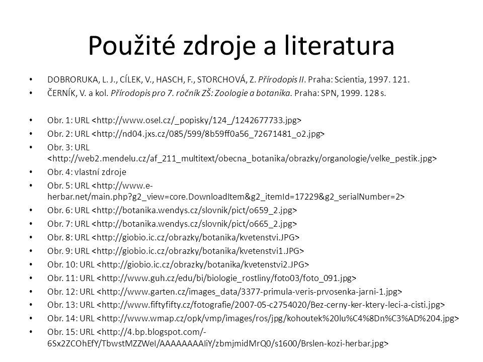 Použité zdroje a literatura DOBRORUKA, L. J., CÍLEK, V., HASCH, F., STORCHOVÁ, Z.