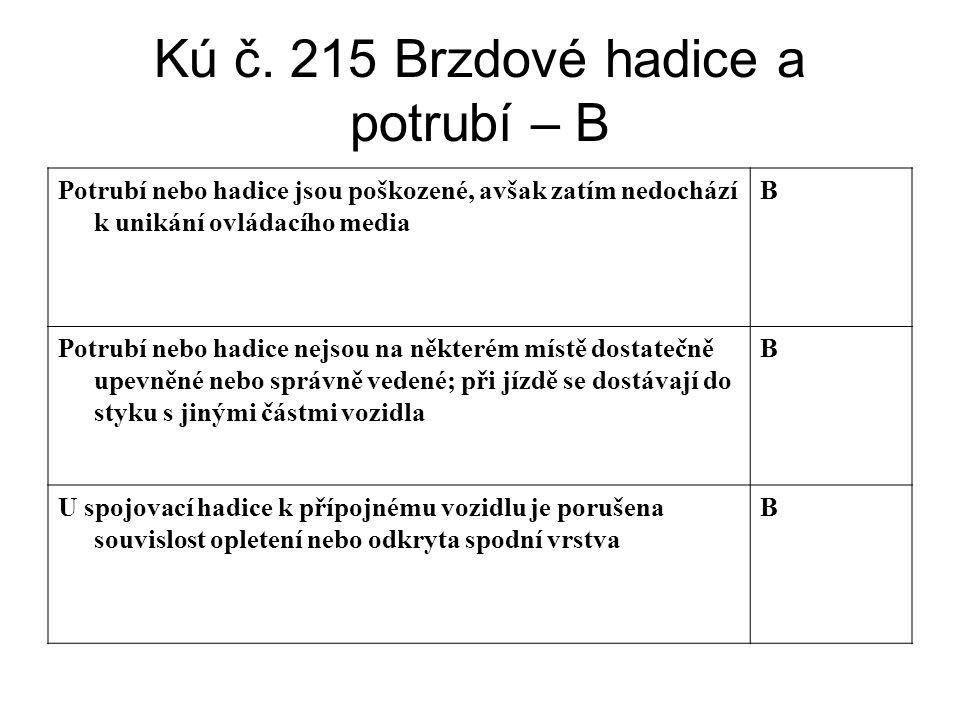 Kú č. 215 Brzdové hadice a potrubí – B Potrubí nebo hadice jsou poškozené, avšak zatím nedochází k unikání ovládacího media B Potrubí nebo hadice nejs