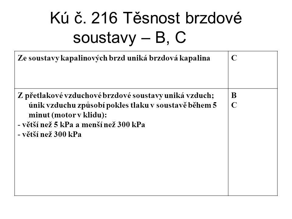 Kú č. 216 Těsnost brzdové soustavy – B, C Ze soustavy kapalinových brzd uniká brzdová kapalinaC Z přetlakové vzduchové brzdové soustavy uniká vzduch;
