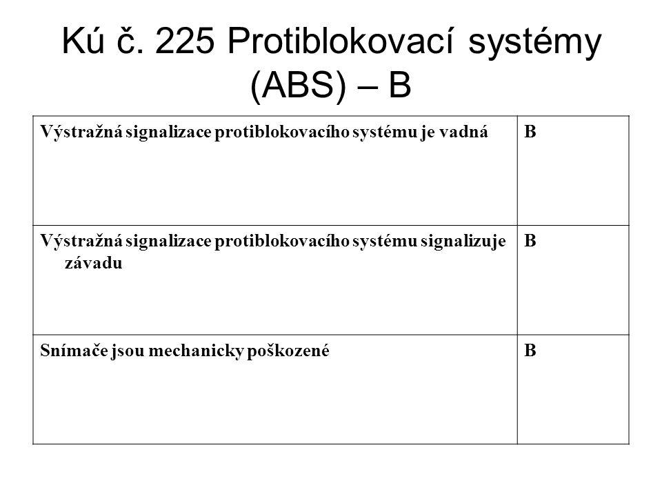 Kú č. 225 Protiblokovací systémy (ABS) – B Výstražná signalizace protiblokovacího systému je vadnáB Výstražná signalizace protiblokovacího systému sig