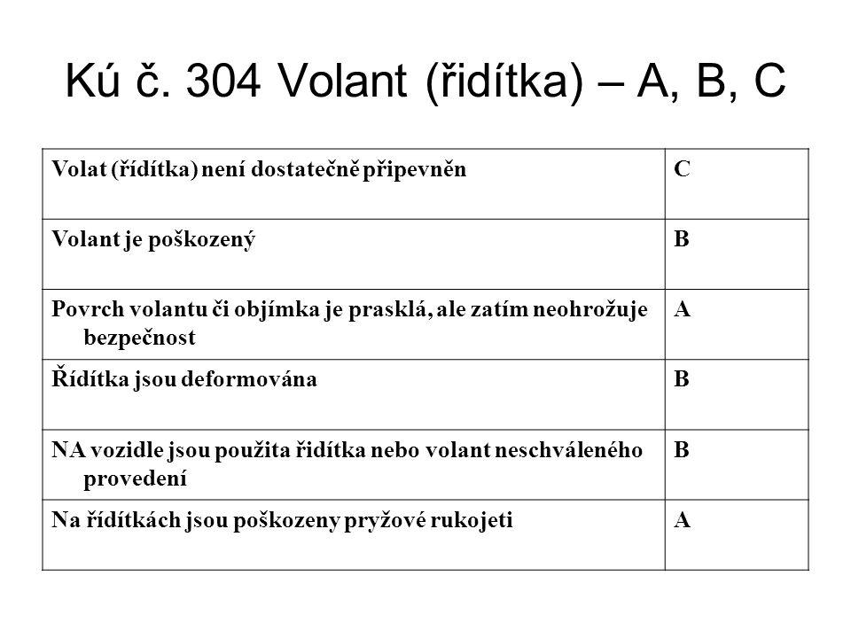 Kú č. 304 Volant (řidítka) – A, B, C Volat (řídítka) není dostatečně připevněnC Volant je poškozenýB Povrch volantu či objímka je prasklá, ale zatím n