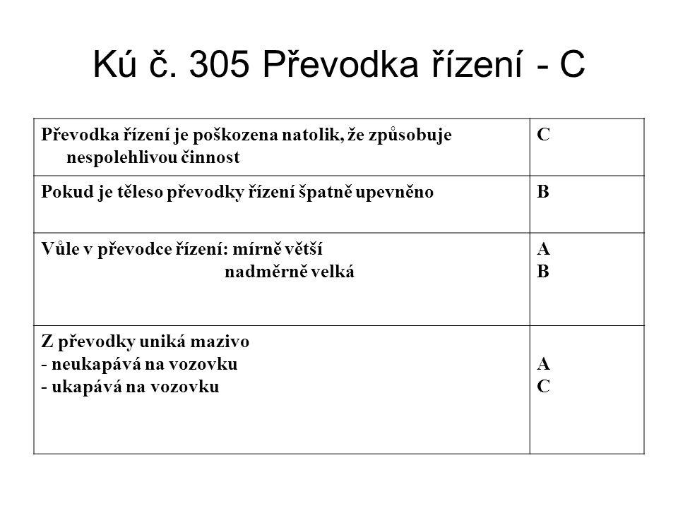 Kú č. 305 Převodka řízení - C Převodka řízení je poškozena natolik, že způsobuje nespolehlivou činnost C Pokud je těleso převodky řízení špatně upevně
